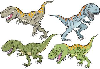 Tyrannosaurus Dinosaur Vector Illustration Set