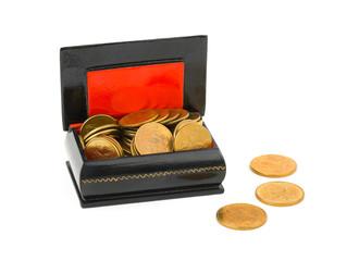Gold money in box