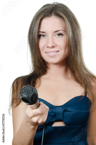 Girl with a microphone isolated