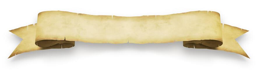 Banderole en parchemin sur fond blanc 1