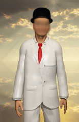 Man in white suit with blurring face