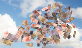 eurobills flying in the sky