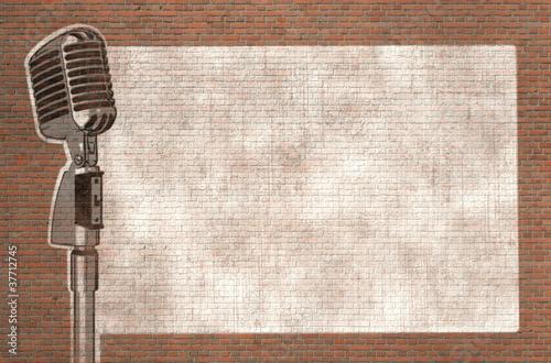 microphone graffiti on wall