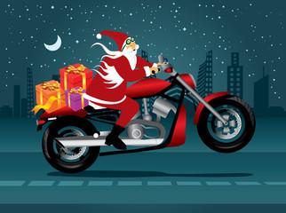 Santa riding a motorbike on Christmas eve