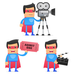 set of funny cartoon superhero