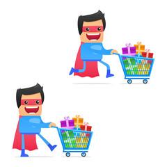 set of funny cartoon superhero