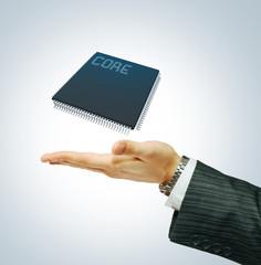 Microchip  on businessman hend