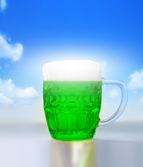 Green beer's for St Patrick's day on a blue sky background