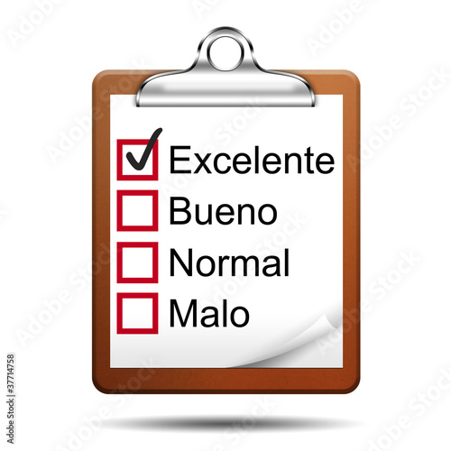 Icono clipboard 3D con opinion version español