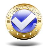 exklusiver bonus button gold 3d