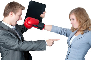 Businesswoman fighting off the boss
