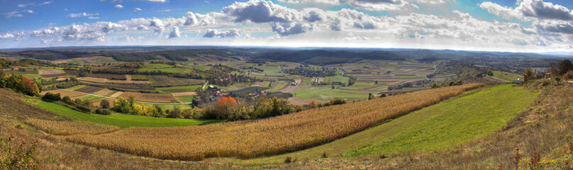 Green valley and golden fields,  landscape panorama