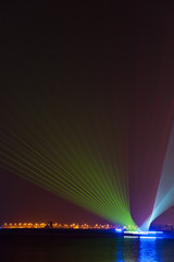 Laser show from moving dhows