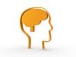 3d Icon Brain orange
