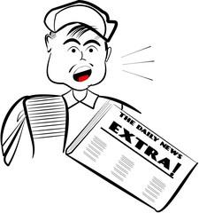 newsboy holding paper