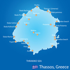 Island of Thassos in Greece map