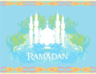Ramadan background - mosque silhouette vector card