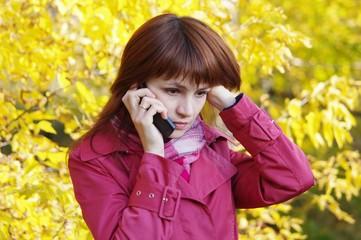 Portrait attractive sad woman with phone