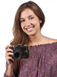 Young brunette girl with a camera