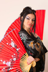 girl with red asian fan