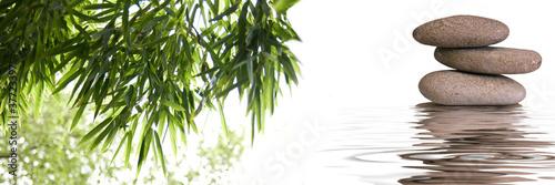 Foto op Canvas Zen bannière zen galets bambous