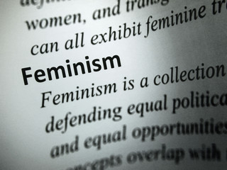 "Closeup to the word ""Feminism"""