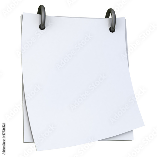 Blank white paper notepad 3d