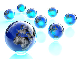 digital binary shiny blue and black world globes