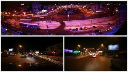 Montage of traffic timelapses.
