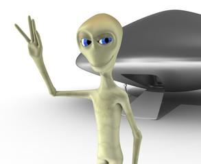 alien y ovni cerca