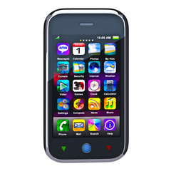 Touchscreen smart phone. Cell Smart Mobile Phone 3D. On the whit