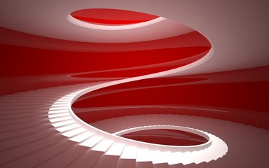 spiral staircase in a white glossy red walls