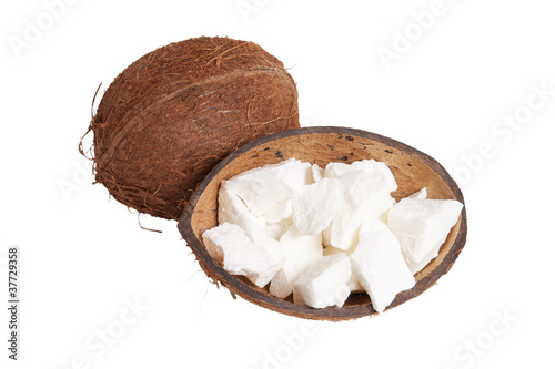 Coconut and coconut oil isolated on white