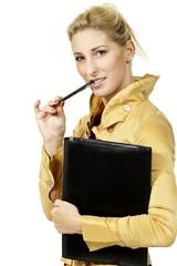 portrait blonde woman, on white background