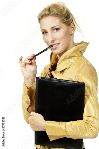 portrait blonde woman, on white background