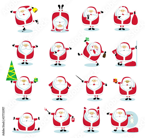 Set of 16 Santas
