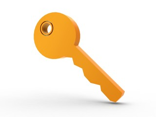 3d Icon Schlüssel orange