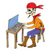 Internet pirate, cartoon