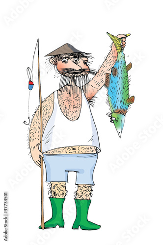Hairy fisherman and hairy fish, cartoon