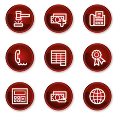 Finance web icons set 2, dark red circle buttons