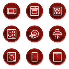 Home appliances web icons, dark red circle buttons