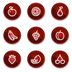 Fruits web icons, dark red circle buttons