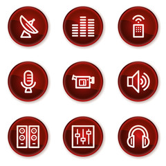 Media web icons, dark red circle buttons