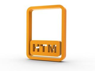 3d Icon Dokument HTM orange