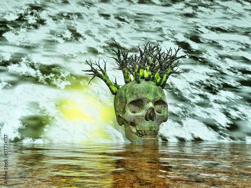 Leinwandbild totenkopf mit surreale landschaft - Totenkopf wandbild ...