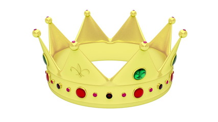 Golden crown rotates on white background