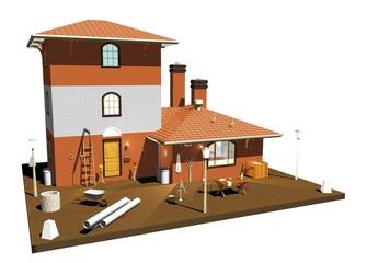 Fabbrica di Mattoni Struttura-Brick Factory-3D Plan
