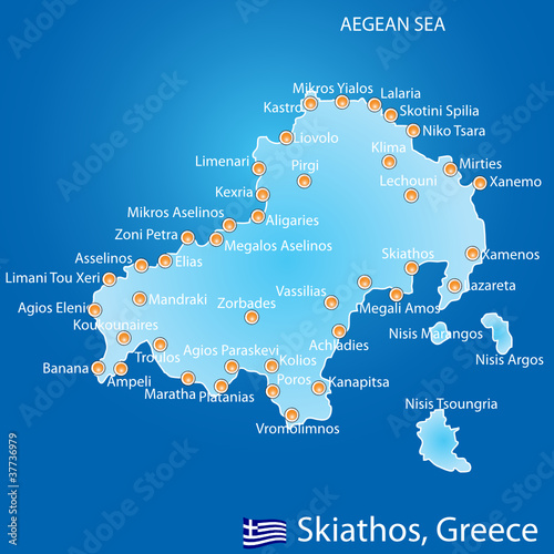 Island of Skiathos in Greece map