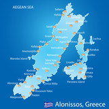 Island of Alonissos in Greece map