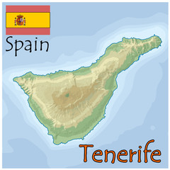 tenerife spain map flag emblem